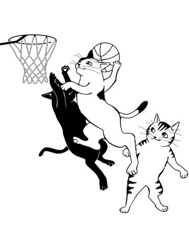 Dibujo De Gatos Jugando Al Baloncesto Para Colorear Dibujos Para