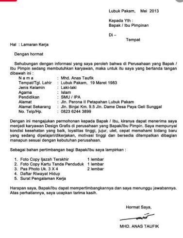 Contoh Surat Lamaran Kerja Untuk Fresh Graduate F A C H R I Aja