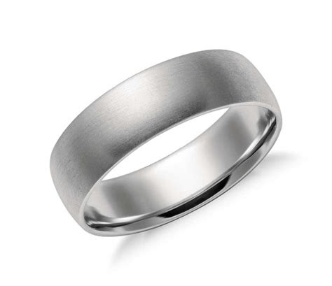 matte mid weight comfort fit wedding band  platinum mm