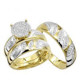Cheap Engagement Rings and Wedding Band Set in 10K Gold