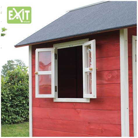 spielhaus loft mit veranda sandkasten und rutsche rot
