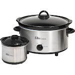 Elite - Cuisine 5-Quart Slow Cooker - Stainless Steel