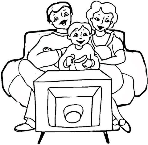 Family in Front of tv
