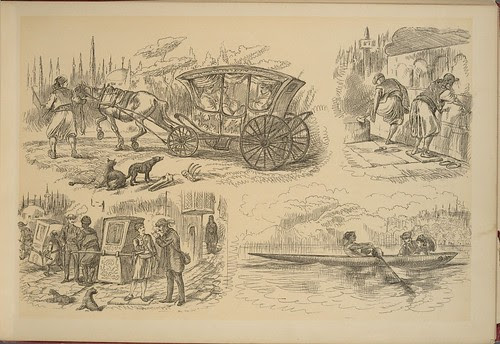 On the Nile - Paris to Marseilles vignettes (horse drawn carriage, sedan chair, boat)