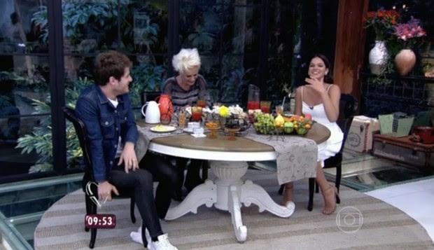 Ana Maria Braga com Bruna Marquezine e Maurício Destri (Foto: Reprodução/TV Globo)