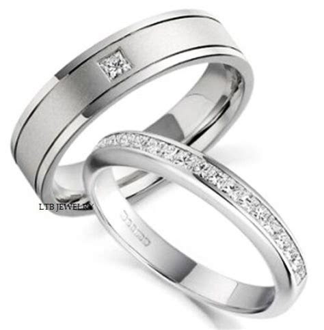 18K WHITE GOLD HIS & HERS MENS WOMENS WEDDING BANDS RINGS