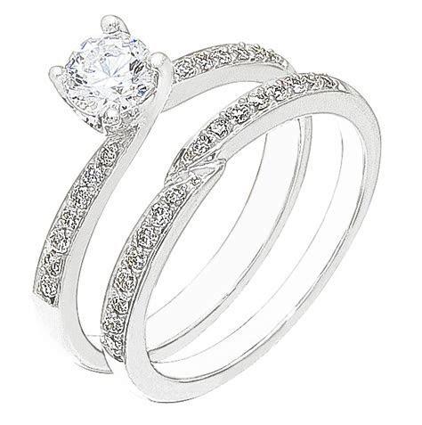 Diamond White Gold Wedding Engagement Ring Set