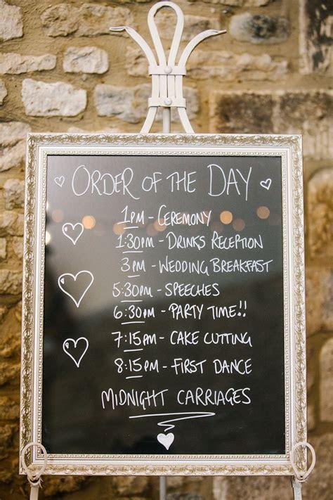 Silver framed blackboard wedding order of service, order