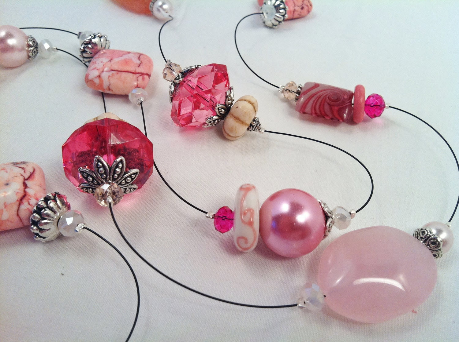 Long Black Wire with Pink Pearls, Glass Beads, Lampwork Beads, Magnesite and Crystals Necklace and Earrings