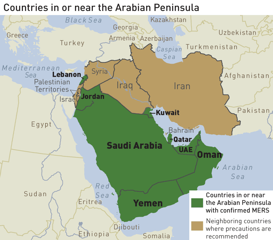 Image of map showing countries in Arabian Penninsula with and without confirmed MERs as detailed on this page.