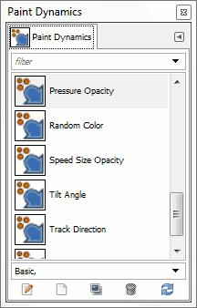 La finestra di dialogo di selezione delle dinamiche di disegno