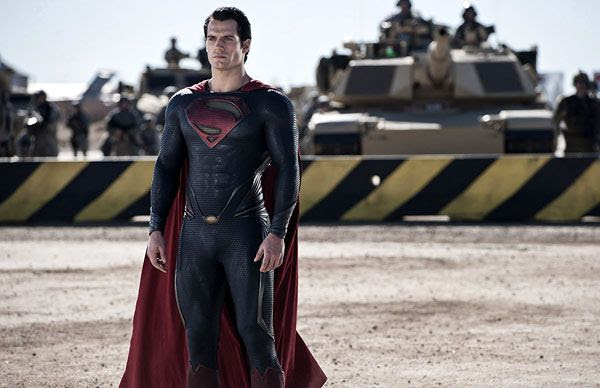 Superman (Henry Cavill) is confronted by the U.S. Army in MAN OF STEEL.