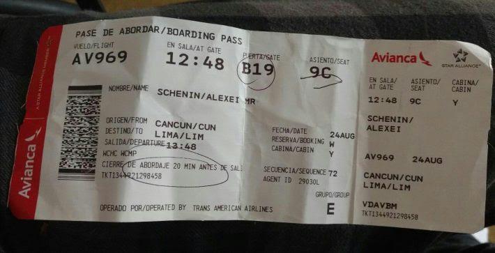 Brasileiro pegou voo da Avianca Internacional (nº 969) às 13h48 desta quinta-feira, 24, para voltar a São Paulo, com escala em Lima, no Peru. Imagem: Arquivo Pessoal/Alexei Schenin