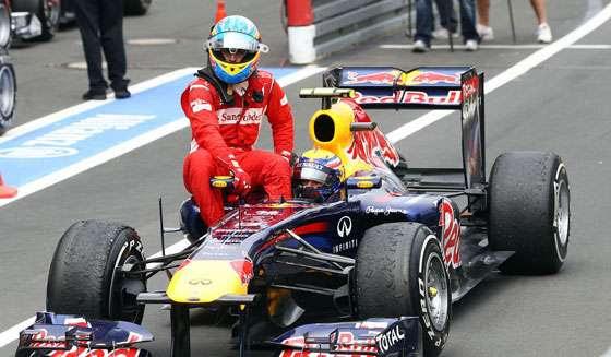 GP da Alemanha de 2011: o espanhol Fernando Alonso e o australiano Mark Webber