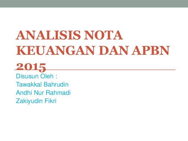 Analisis nota keuangan dan apbn