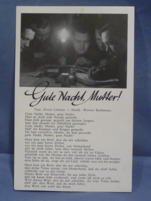 Bunker Militaria Original Wwii German Song Postcard Good Night Mother
