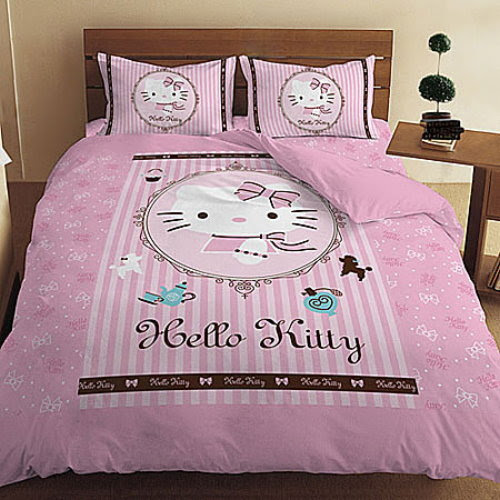 HELLO KITTY LADY DOUBLE BED PILLOWCASES & BEDSHEET SET @ SGD79.90 ...