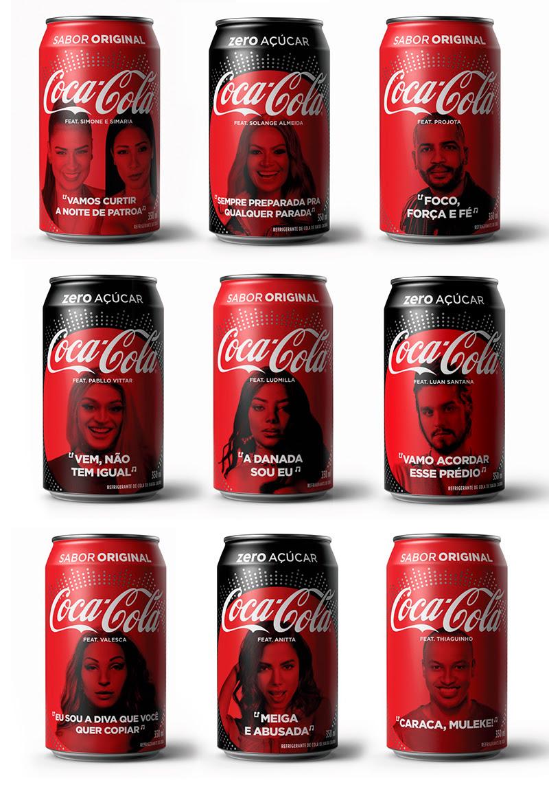 Coca-Cola latas com lacre de Pabllo Vittar, Ludmila, Valesca Popozuda e funkeiras