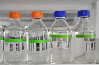 Storage bottles at Bioscience Center