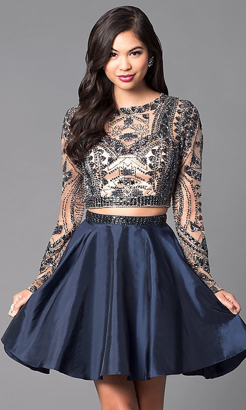 Midday Delight - Two-Piece Short Open-Back Homecoming Dress