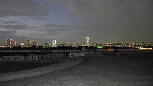 The rainbow bridge at night