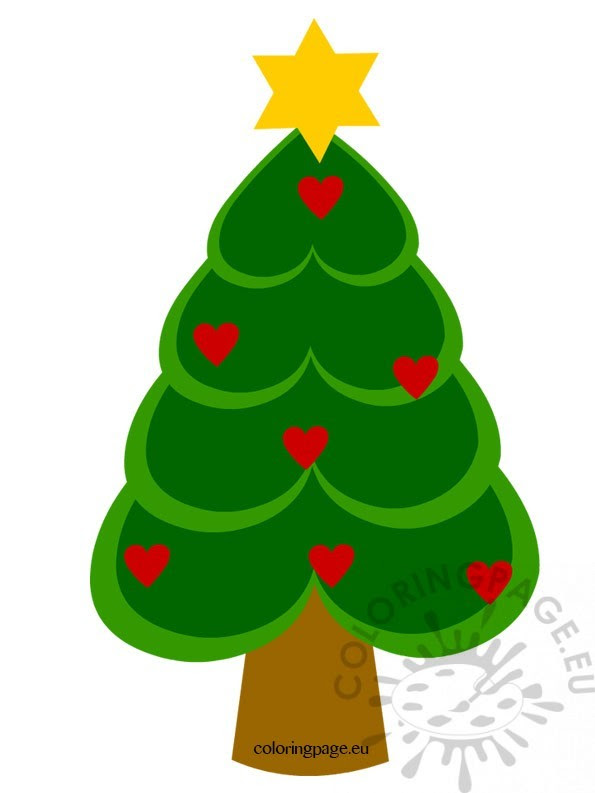 Christmas Tree with hearts - Coloring Page