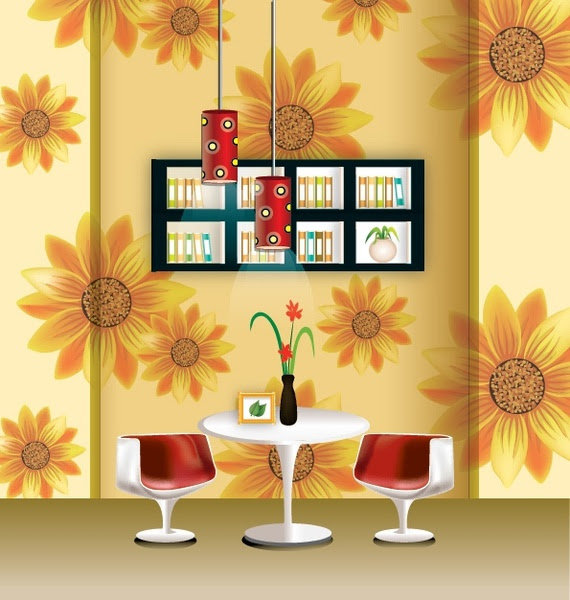 Vector stylish wallpaper chandelier home decor Vector misc - Free ...