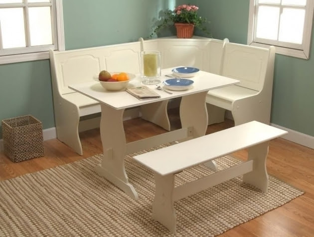 White Corner Kitchen Nook Table And Chair Ideas With Rugs