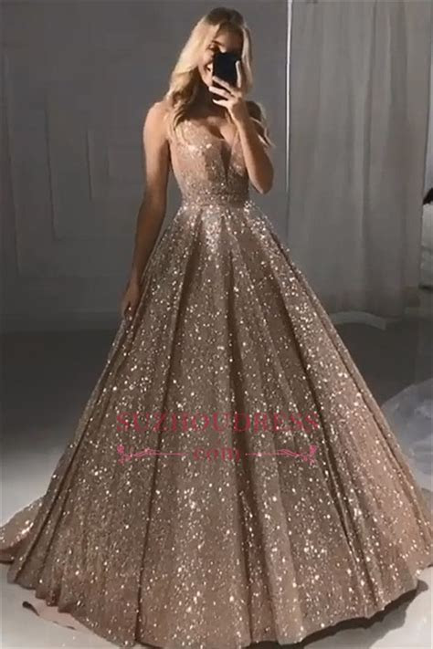Sparkly Champagne Gold Sequins Prom Dresses Cheap