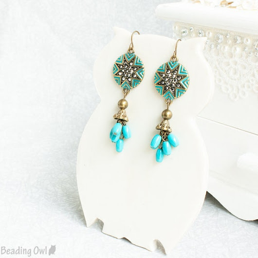 Turquoise Earrings Antique Gold and Turquoise Earrings