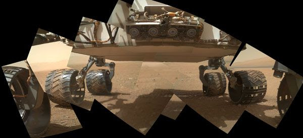 A MAHLI image of the Curiosity rover's six wheels and four hazard avoidance cameras, taken on September 9, 2012.