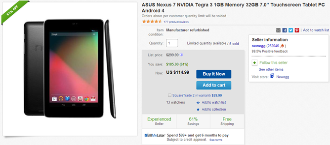 Refurbished 2012 Nexus 7 (32GB) Available Through eBay Daily Deals, $114.99 With Free Shipping