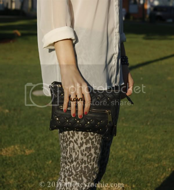 sheer Forever 21 blouse, leopard skinny jeans, Jeffrey Campbell glitter Lita, Erica Anenberg twosome love ring, Los Angeles fashion blog