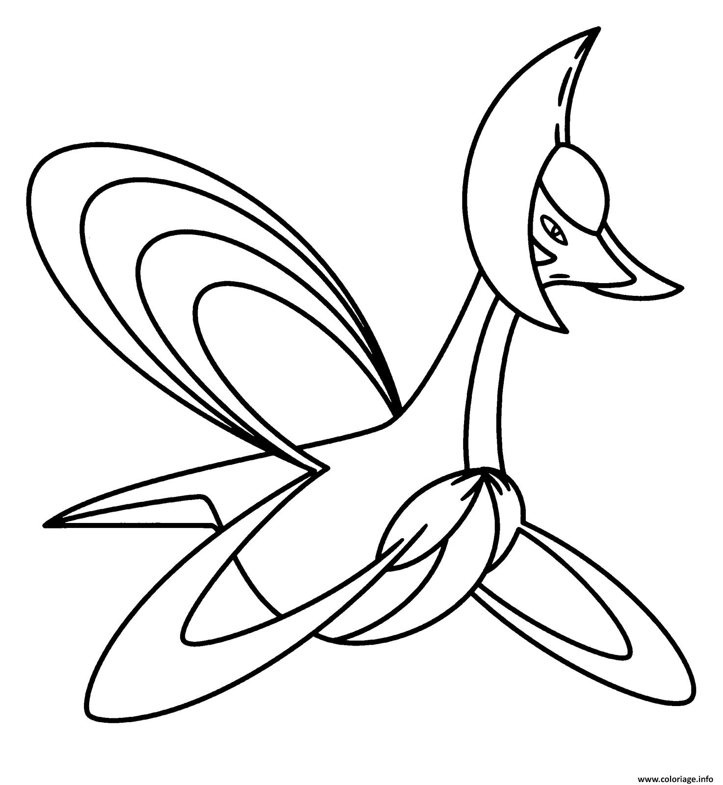 Coloriage 488 Cresselia Pokemon Legendaire Jecoloriecom