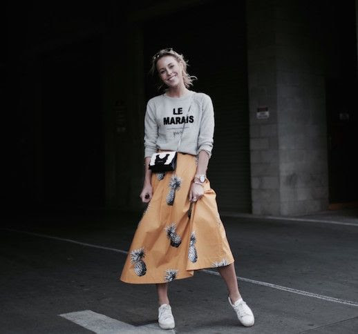 Le Fashion Blog Sweatshirt Pineapple Print Maxi Skirt White Sneakers Via Happily Grey