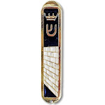 Metal Gold-Tone Small Novelty Car Mezuzah Case from Jerusalem, 2 inch - Made in Israel, Blue