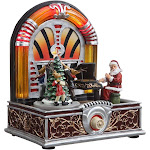 Icy Giftware 7.25 inch Red and Green Small Christmas Jukebox LED Lighted Musical Tabletop Decor
