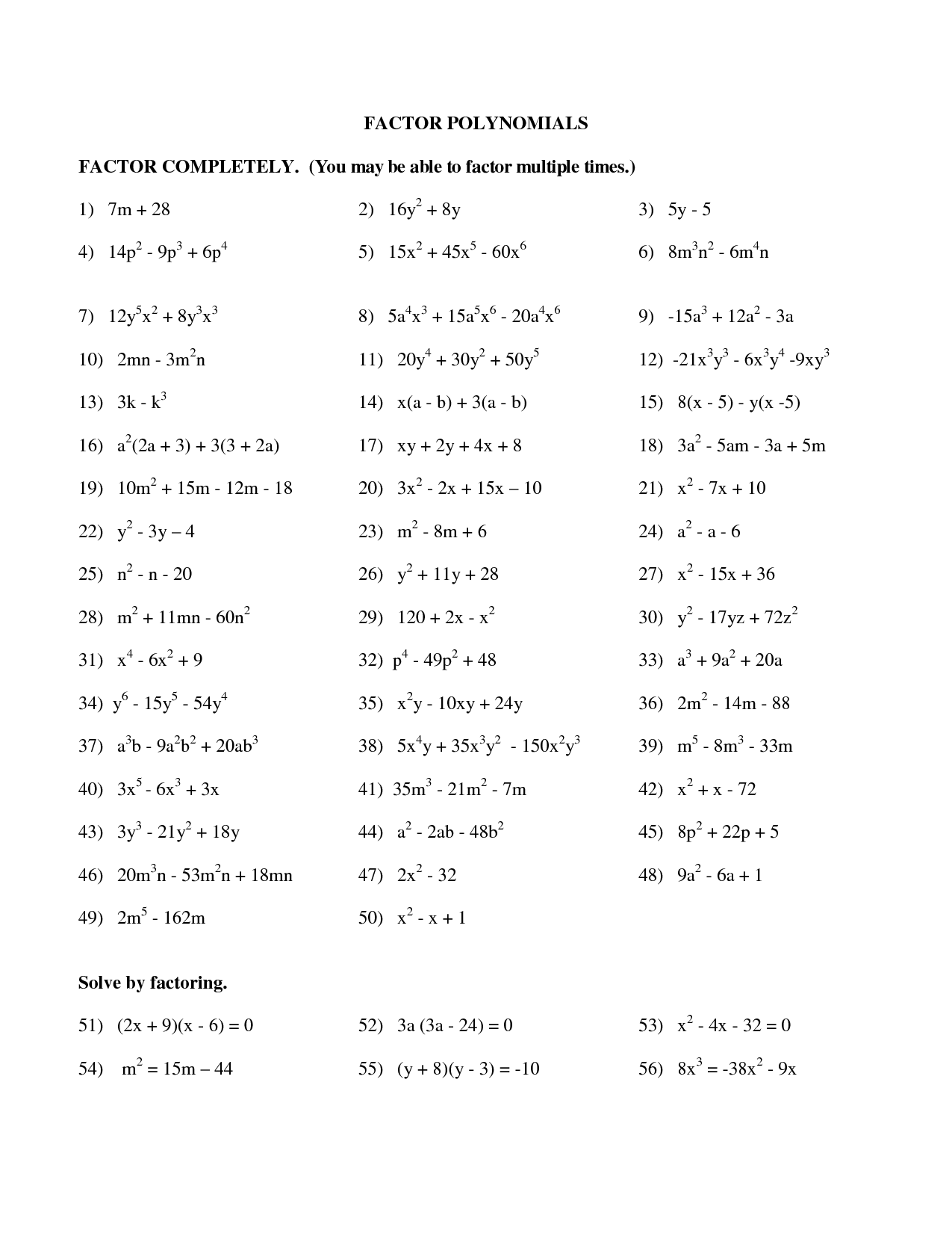 Factoring Trinomials Quiz With Answers  factoring trinomials worksheet with answer key r c a d