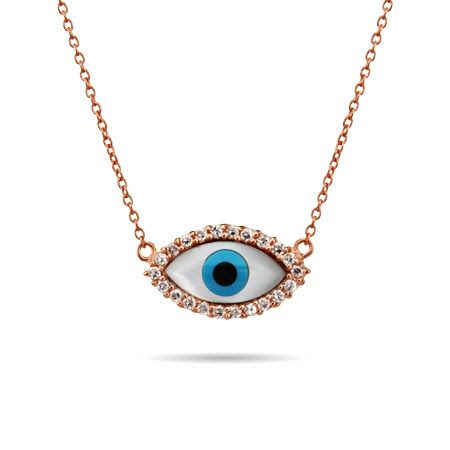 Eve's Addiction Rose Gold Vermeil CZ Evil Eye Necklace