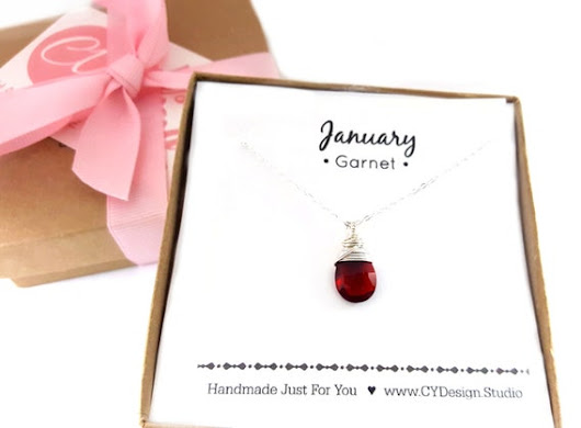 Garnet Necklace  January Birthstone  Dainty Drop by CYDesignStudio