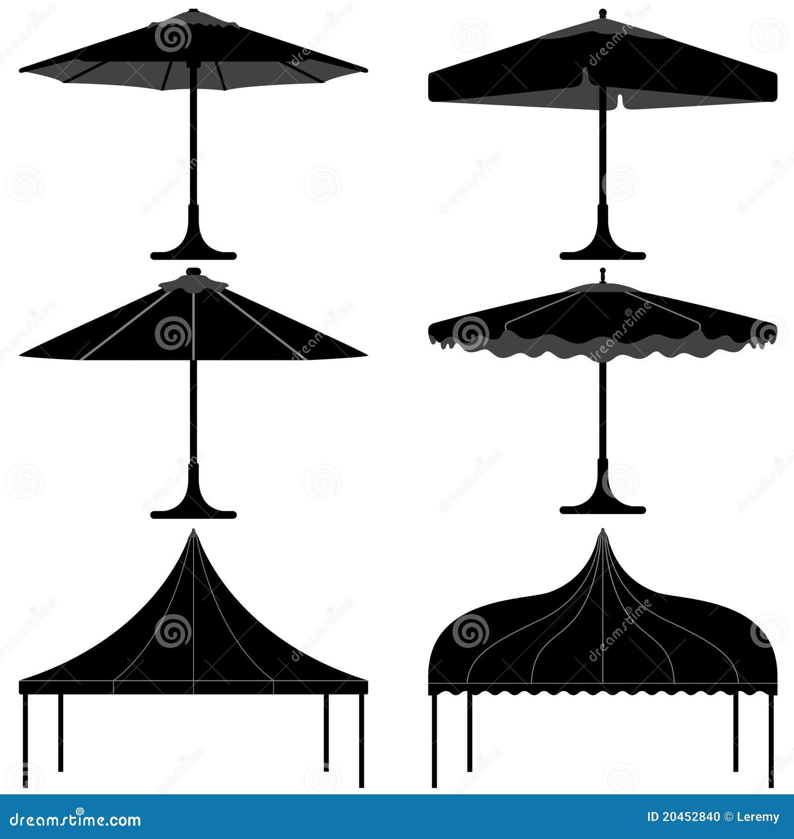 Umbrella Tent Gazebo Canopy Camp Silhouette Stock Photo - Image ...