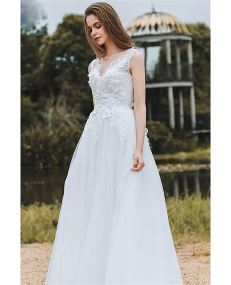 Elegant Lace V neck Beach Wedding Dress Boho Long Tulle A