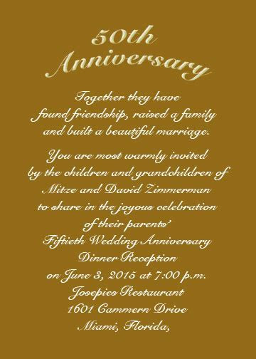 Golden Jubilee 50th Anniversary Invitation Cards (Item #