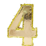 Small Number 4 Gold Foil Pinata, Fourth Birthday Party Supplies, 15.5 X 11 X 3 Inches