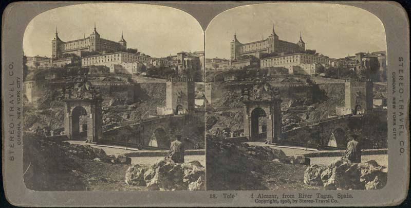 Fotografía estereoscópica de Toledo a inicios del siglo XX. Puente de Alcántara. The Omaha Public Library