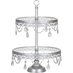 Amalfi Décor 2-Tier Glass Top Crystal Dessert Cupcake Stand (Silver) Stainless Steel Frame