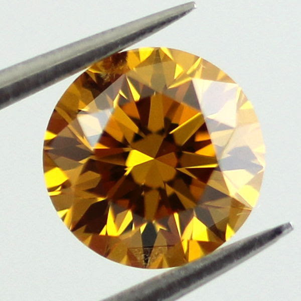 Fancy Deep Orange Yellow Diamond, Round, 0.78 carat, SI1