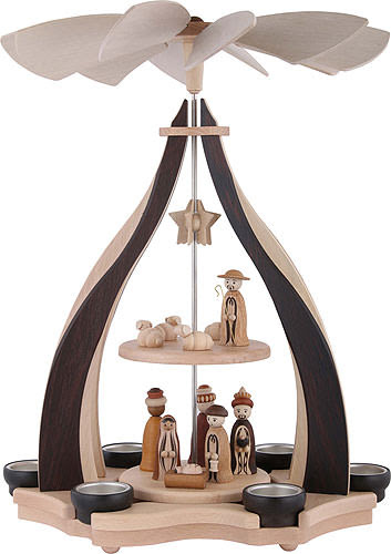 2 Tier Pyramid Nativity Scene  7in By