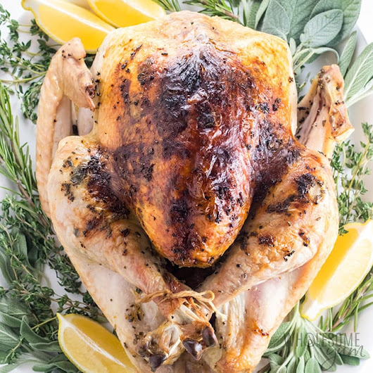 Easy Garlic Butter Herb Roasted Turkey Recipe | Wholesome Yum