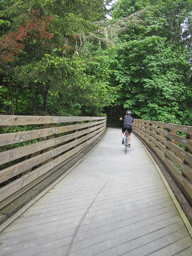 Riding over the Mendenhall Creek trestle